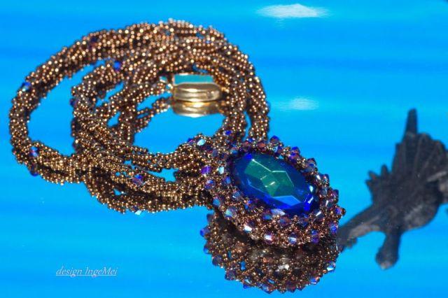 glasstein blau lila mit drache kl